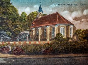 alte Postkarte der Kirche in Himmelpforten